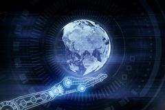 Robotics, cyberspace and future concept. Abstract digital hand with globe on blurry background. Robotics, cyberspace and future concept. 3D Rendering stock photos