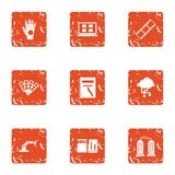 Robotics department icons set, grunge style. Robotics department icons set. Grunge set of 9 robotics department vector icons for web isolated on white background Royalty Free Stock Images