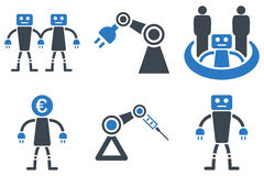 Robotics Flat Vector Icons. Robotics vector icons. Icon style is bicolor smooth blue flat symbols with rounded angles on a white background Stock Photos
