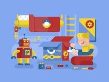 Robotics guy control robot Stock Images