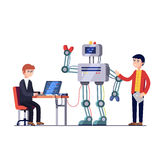 Robotics hardware and software engineering. Software and hardware engineers are making and programming huge robot. Robotics hardware and software engineering Royalty Free Stock Photography
