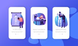 Robotics Hardware and Software Science Engineering Mobile App Page Onboard Screen Set Development Company Create Cyborgs. In Laboratory Concept for Website or stock illustration