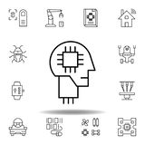 Robotics human mind robot outline icon. set of robotics illustration icons. signs, symbols can be used for web, logo, mobile app, vector illustration