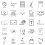 Robotics icons set, outline style. Robotics icons set. Outline set of 25 robotics vector icons for web isolated on white background Stock Image