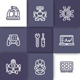 Robotics, mechanical engineering, icons, linear. Robotics, mechanical engineering, microelectronics, robots icons, linear style Stock Photo