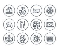 Robotics, mechanical engineering, robots,  icons. Robotics, mechanical engineering, robots, microelectronics line icons on white Royalty Free Stock Images