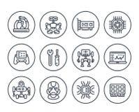 Robotics, mechanical engineering, robots, icons. Robotics, mechanical engineering, robots, microelectronics line icons on white vector illustration
