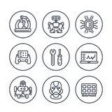 Robotics, mechanical engineering, robots, icons. Robotics, mechanical engineering, robots, microelectronics line icons in circles Stock Image