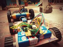 Robotics. This photo was shot during a robot-car race competition going on in a college stock photo