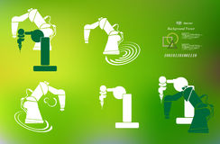 Robotics, robot hand, robot icon set background abstract illustration Royalty Free Stock Image