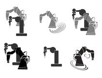 Robotics, robot hand, robot icon set background abstract illustration Royalty Free Stock Photo