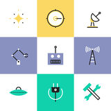 Robotics and science pictogram icons set. Science innovative engineering, robotics construction industry, broadcasting radio signal, green power and energy Royalty Free Stock Photo