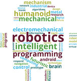 Robotics Word Cloud Text Illustration. Robot shaped Robotics related  tags isolated . Transparent Stock Images