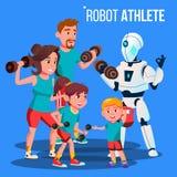 Robotidrottsman nen Personal Fitness Trainer med hantelvektorn isolerad knapphandillustration skjuta s-startkvinnan royaltyfri illustrationer