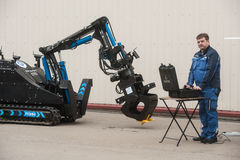Robotikkomplex für Arbeit in den Strahlenunfällen Stockbilder