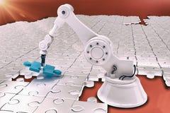 Robotinställning - upp pusslet 3d Royaltyfri Foto