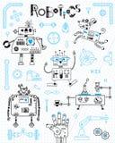 Robotique pour des enfants Ensemble d'éléments de conception Robots et détails pour la construction Illustration de vecteur illustration stock