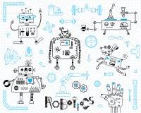 Robotique pour des enfants Ensemble d'éléments de conception Robots et détails pour la construction Illustration de vecteur illustration libre de droits