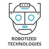 Robotized技术变薄线象,标志,标志, illustation,线性概念,传染媒介 向量例证