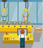 Robotized линия на собрании устройств Плоский стиль Стоковая Фотография