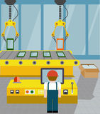 Robotized line on assembly of gadgets.  flat style Stock Photography