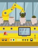 Robotized linia na zgromadzenie roboty ilustracji