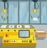 Robotized linia na zgromadzenie smartphone Mieszkanie styl ilustracja wektor