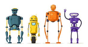Robotkarakter Technologie, toekomst De vectorillustratie van het beeldverhaal Stock Afbeelding