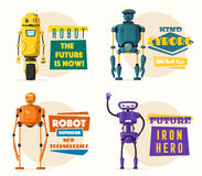 Robotkarakter Technologie, toekomst De vectorillustratie van het beeldverhaal Royalty-vrije Stock Afbeeldingen