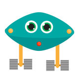 Robotkarakter Vectorillustratie, geïsoleerde ontwerpelementen Blauwe androïde Stock Foto