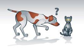 Robotkatt med den nyfikna hunden Stock Illustrationer