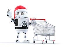 Robotkerstman met boodschappenwagentje die op voorwerp richten stock illustratie