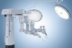 Robotkirurgimaskin med kirurgiljus royaltyfri illustrationer