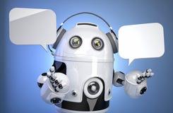 Robotkundtjänstoperatören med hörlurar med mikrofon och anförande bubblar Isolerat innehåller den snabba banan Fotografering för Bildbyråer