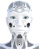 Robotkvinna Droid för vit metall konstgjord intelligens stock illustrationer