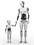 Robotkvinna med hennes barnnr 2 Arkivbild