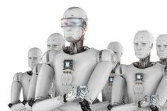 Robotleider met team Stock Afbeelding