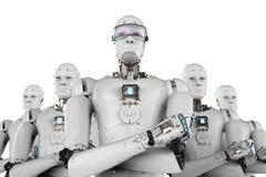 Robotleider met team stock afbeeldingen