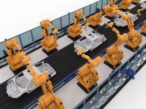 Robotlopende band in autofabriek royalty-vrije stock afbeelding