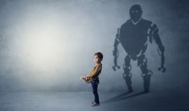 Robotman shadow of a cute little boy Royalty Free Stock Photo