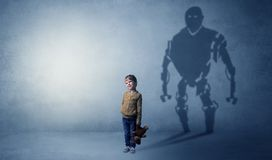 Robotman shadow of a cute little boy stock image