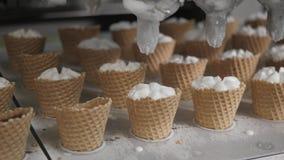 Robotmaskinen häller automatiskt glass i koppar för ett rån De automatiska linjerna för tillverkning av is för transportör stock video