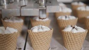 Robotmaskinen häller automatiskt glass och choklad i koppar för ett rån De automatiska linjerna för transportör för lager videofilmer
