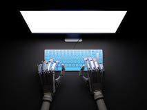 Robotmaskinskrivning på PC i illustration för mörker 3d Arkivbild