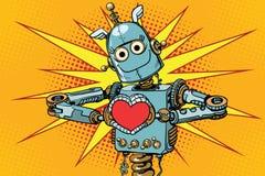 Robotminnaar met een rood hart, symbool van liefde Royalty-vrije Stock Afbeeldingen