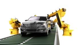 Robotmonteringsbandet i bilfabriken 3d framför på vit ingen skugga Fotografering för Bildbyråer
