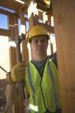 Robotnik pracy Na budynek budowie Obraz Royalty Free