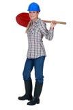 Robotnik trzyma rydel Obrazy Royalty Free