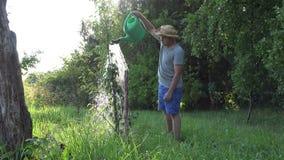 Robotnika rolnego mężczyzna nalewa wodę na jabłczanych owocowych drzewach przy sadu ogródem z podlewanie garnkiem 4K zbiory