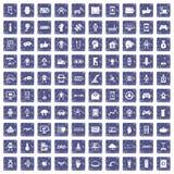 100 robotpictogrammen geplaatst grunge saffier Stock Afbeeldingen